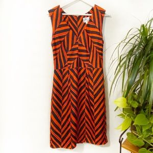 Milly of New York Orange / Navy Silk Chevron Dress